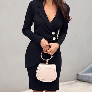 Ruched Button Black Blazer Dress